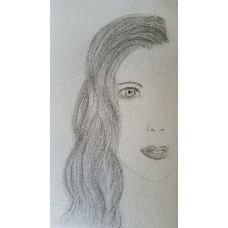 Graphite hair practice half face girl