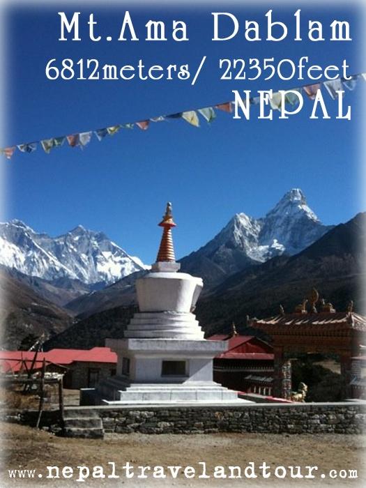 Ama Dablam Mountain from Tyangboche Monastery...
