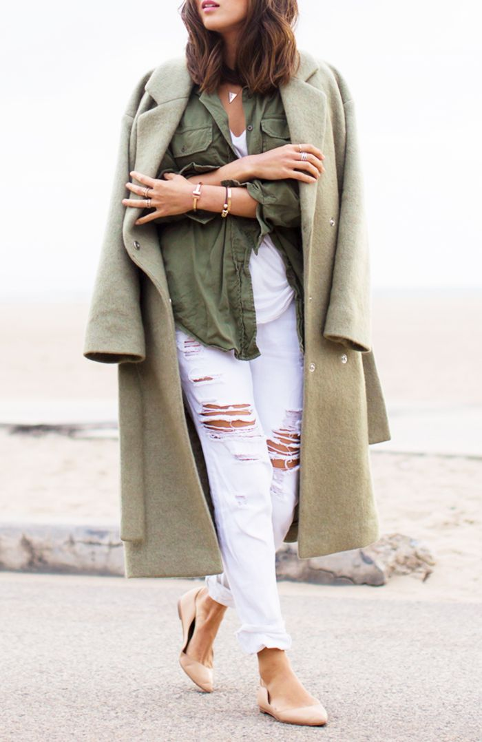 Distressed white jeans and shades of olive green