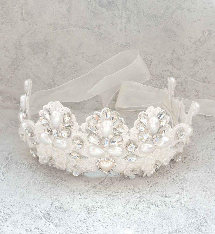 Magnifique Headband Bijoux de tête en Dentelle Blanche et Strass : Accessoires coiffure par ysabell