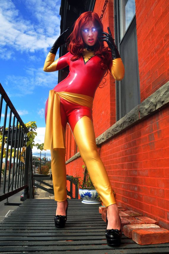Latex Cosplay: Telekinetic Firebird Supervillian - inspired costume