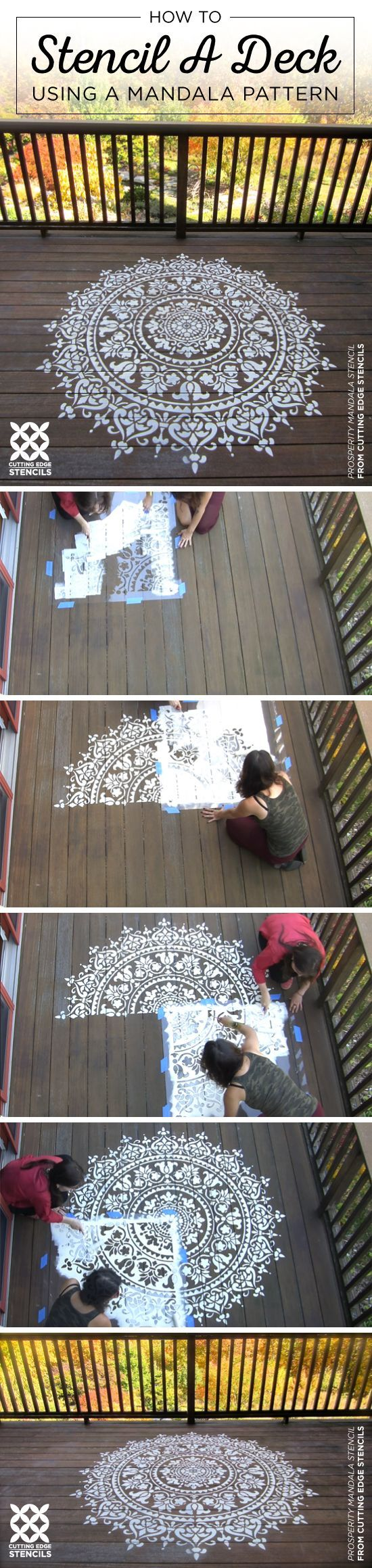 Cutting Edge Stencils shares how to stencil a deck using a large Prosperity Mandala Stencil pattern. http://www.cuttingedgestencils.com/prosperity-mandala-stencil-yoga-mandala-stencils-designs.html