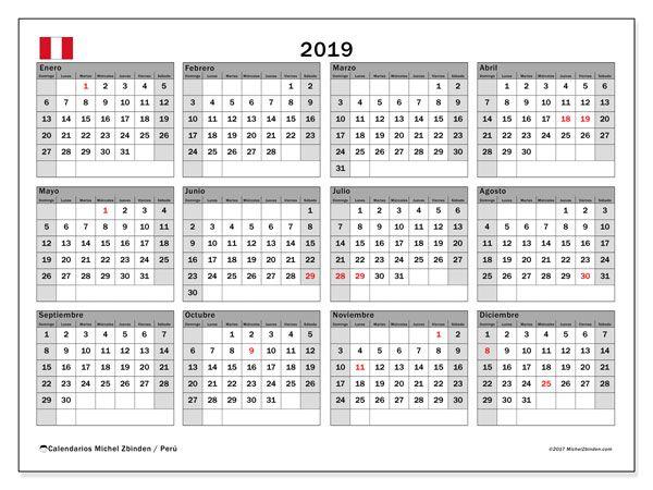 Calendario Diario Para Imprimir 2019.Calendario 2019 Peru Trux Calendario Mensual Para