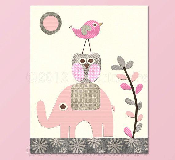 Pink elephant Nursery Art Print, Kids Room Decor, Baby / Children Wall Art - grey and pink, owl, love bird