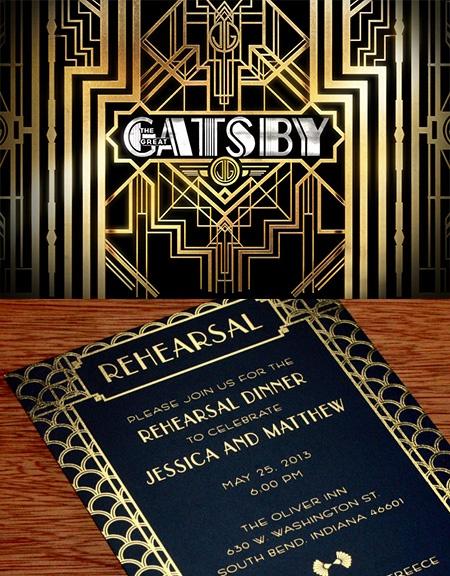 Great Gatsby Inspired Wedding Invitation Design