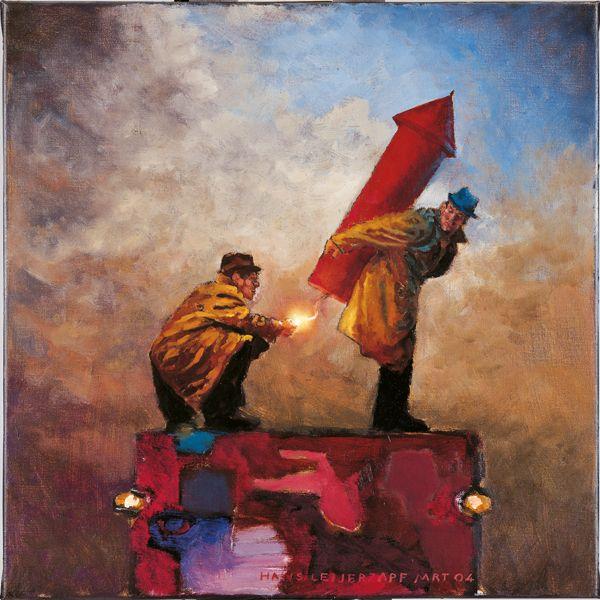 Kleurrijke kunstkaart voor de feestdagen uit de collectie van Zuijderduijn - #mensen #vuurwerk #humor #kleurrijk #art #kunst #zuijderduijn #kerstkaart #kerstkaarten