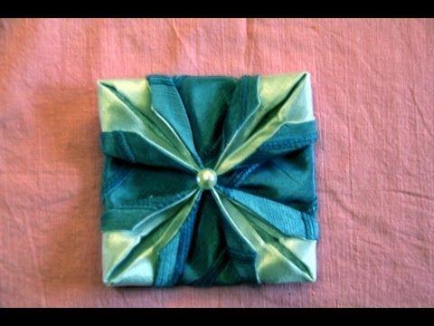 """Рукоделие цветок из ткани """"Крокус"""" - оригами из ткани. - YouTube"""