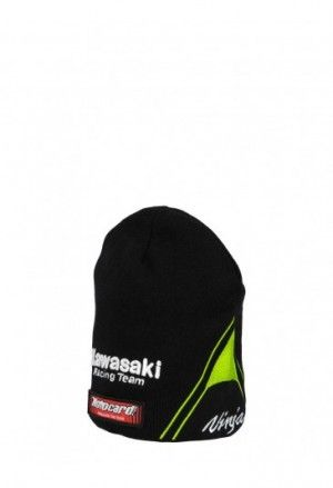 Kawasaki decorative beanie for champion Jonathan Rea. Black beanie portraying an elegant look thanks to the green and black details. The Kawasaki Racing Team logo is embroidered on the front, race number 66 is embroidered on the right and the Ninja logo is embroidered on the left. #JonathanRea #Kawasaki #beanie