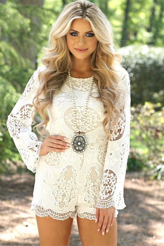 Our Turning In Circles Romper is a lace romper with long sleeves. It zips up the back, and is fully lined with a nude underlay. #southernfriedchics