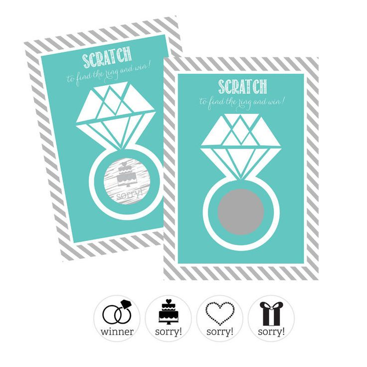 """Invite guests to play this fun and unique bridal shower or bachelorette party game! Cards have a silver circle with hidden wedding related icons that say """"sorry!"""", only one winning card will reveal th"""