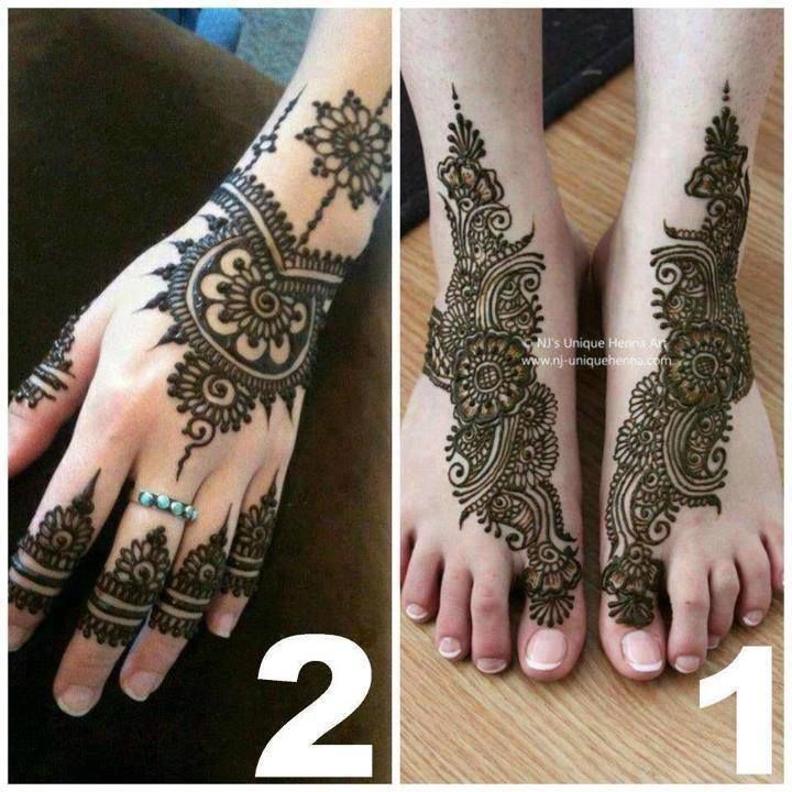 AMAZING Matching Hands And Feet Henna design