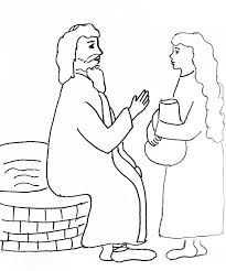 coloring page of woman at well with jesus google search