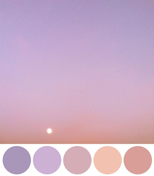 Color Schemes Inspired by Instagram Photos of the Sky - violet, lavender, rose, and peach- Mia's future room colors