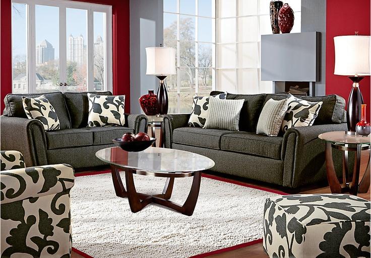 Living Room Set - Grey & Red