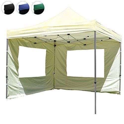 Nexos Hochwertiger Falt-Pavillon Partyzelt mit 2 Seitenteilen PROFI Ausf�hrung f�r Garten Terrasse Feier Markt als Unterstand Plane wasserdichtes Dach 3 x 3 m champagner
