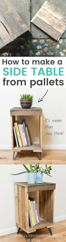DIY Pallet side table - easy instructions on how to create a rustic wooden pallet side table from recycled wooden pallets. Can be used as a nightstand or end table / Grillo Designs www.grillo-designs.com