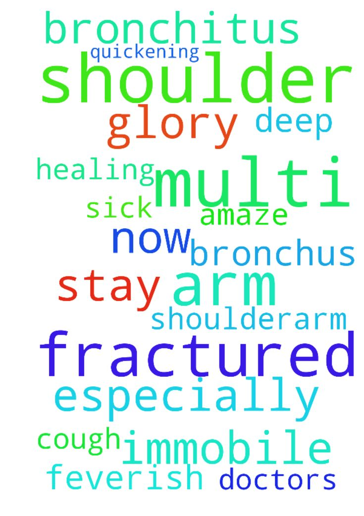 bronchitus and multi fractured shoulder/arm -  I have this deep cough on the bronchus, sick and feverish and a multi fractured arm and shoulder that need to stay immobile for now. Lord I pray for a quickening of healing especially of the shoulderarm that will amaze all doctors for the glory of Your name. In Jesus name. amen  Posted at: https://prayerrequest.com/t/ugf #pray #prayer #request #prayerrequest