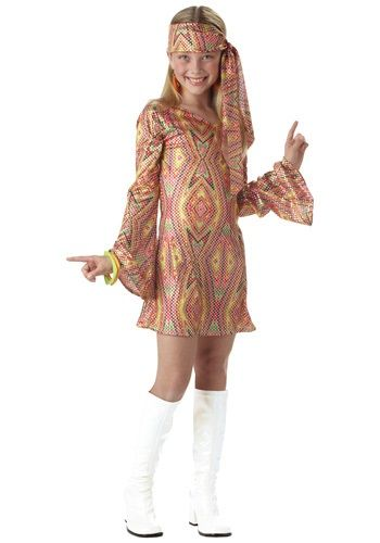 Send your child back to the 1970s in this Kids Disco Girl Costume for Halloween. Our 70s and 1960s make great 60s hippie costumes for kids and adults.