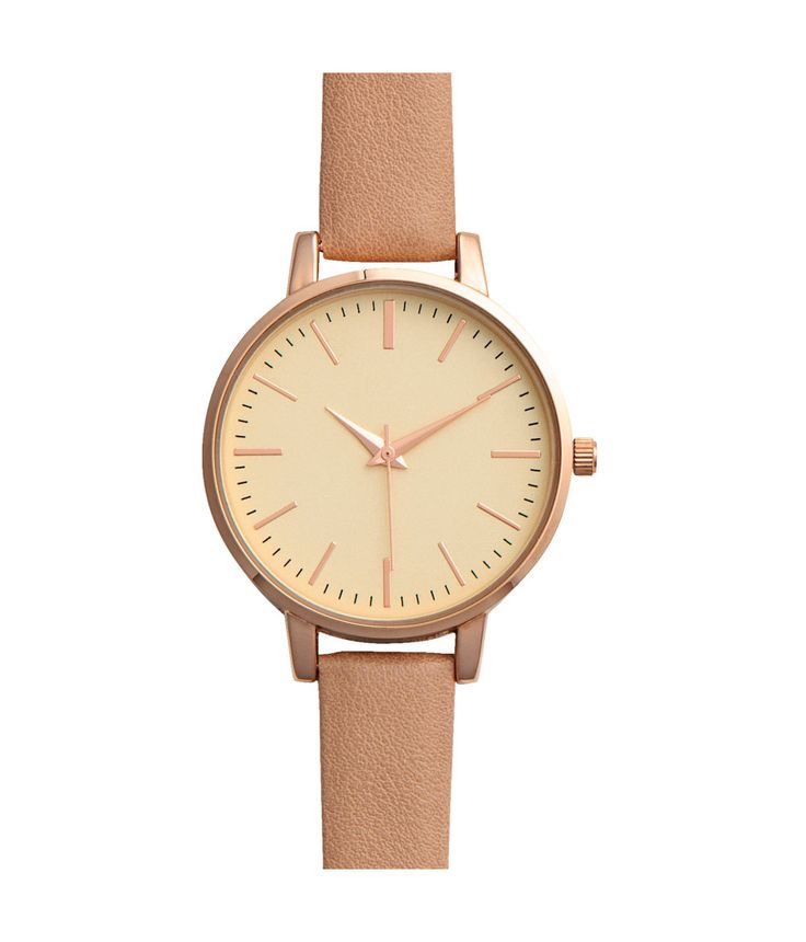 Check this out! Metal watch with a narrow, adjustable strap in imitation leather with a metal buckle. Width of strap 1/2 in., overall length 8 1/2 in. Diameter of face 1 1/2 in. - Visit hm.com to see more.