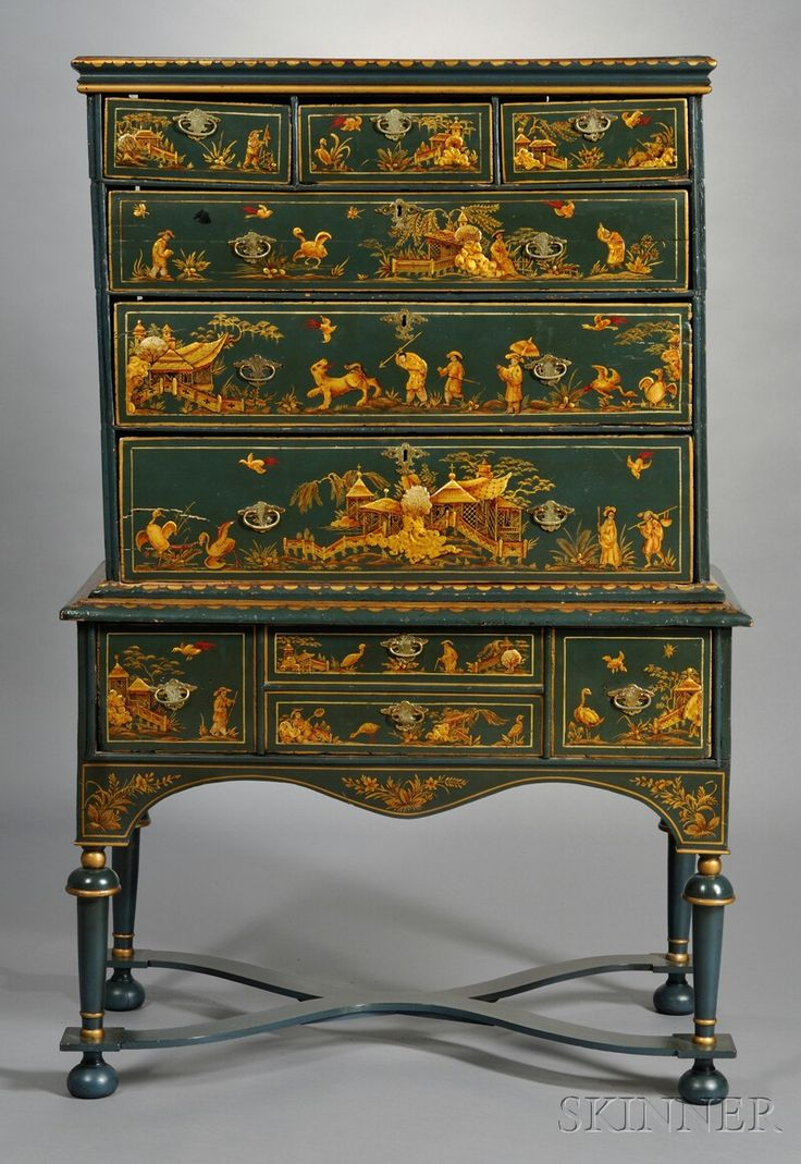 EUROPEAN FURNITURE & DECORATIVE ARTS - SALE 2605B - LOT 613 - JAPANNED CHEST-ON-STAND, ENGLAND, WILLIAM & MARY-STYLE, TOP PORTION WITH A ROW OF THREE DRAWERS ABOVE THREE GRADUATED DRAWERS ON A S... - Skinner Inc