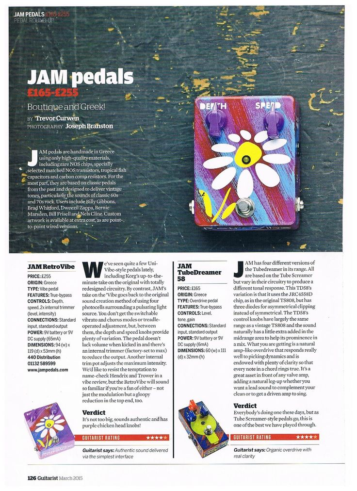 JAM pedals review by Guitarist March 2015 #jampedals #guitaristmagazine #retrovibe