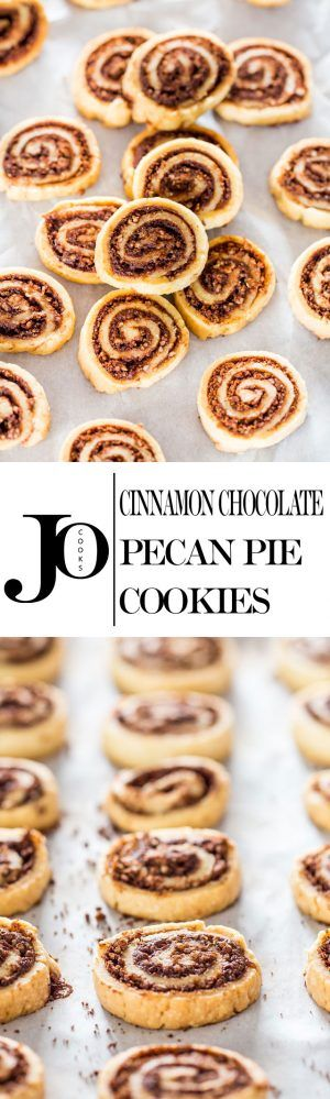 Cinnamon Chocolate Pecan Pie Cookies - you won't believe how easy these cookies are to make with store bought pie crust! They're super flaky, tastes like pecan pie and so much easier!