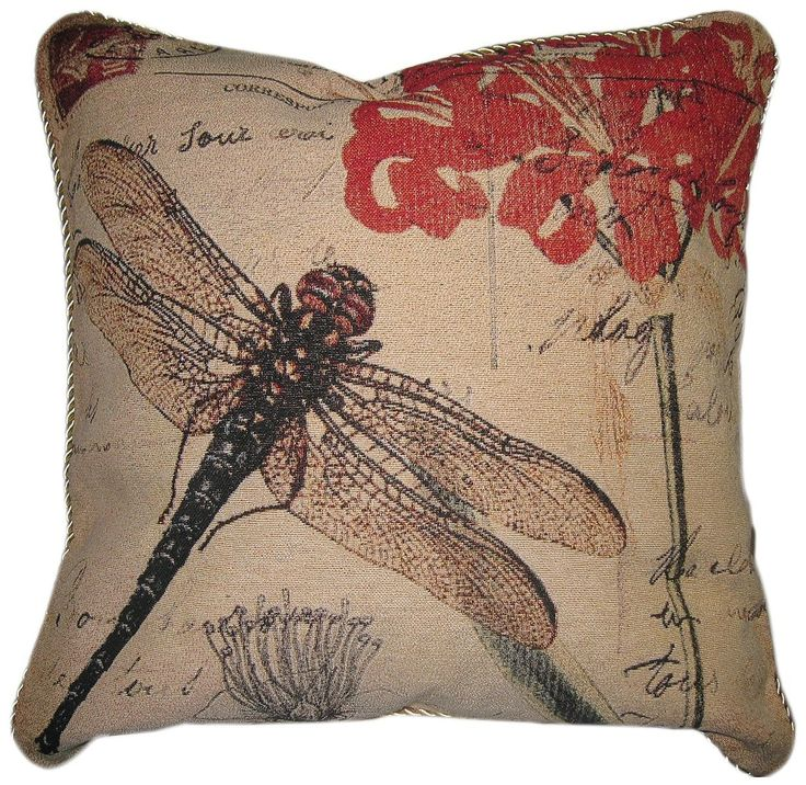 """DaDa Bedding Dragonfly Dream Decorative Floral Insect Bug Print Cushion Cover Throw Pillow, 18"""""""