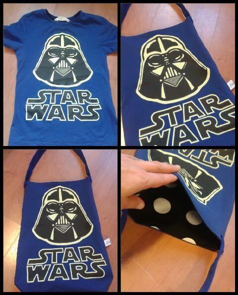 Pojalla oli lempi t-paita ja ei millään olisi luopunut siitä. Minä sain työksi toteuttaa siitä jotain mitä voisi käyttää pitempään joten tein Star Wars t-paidasta kassin