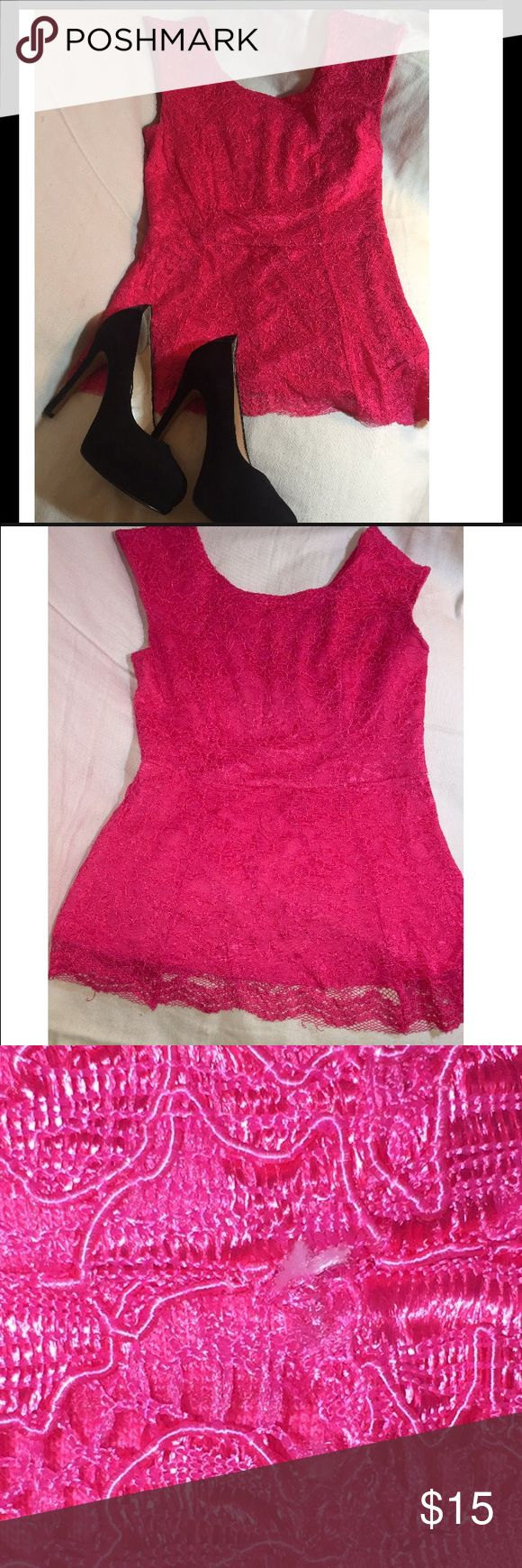 Pink Peplum Top Sleeveless Peplum Top. Perfect for work or a night out. 👚** Has a little loose thread not visible when wearing (sew close up pic.)** Forever 21 Tops Blouses