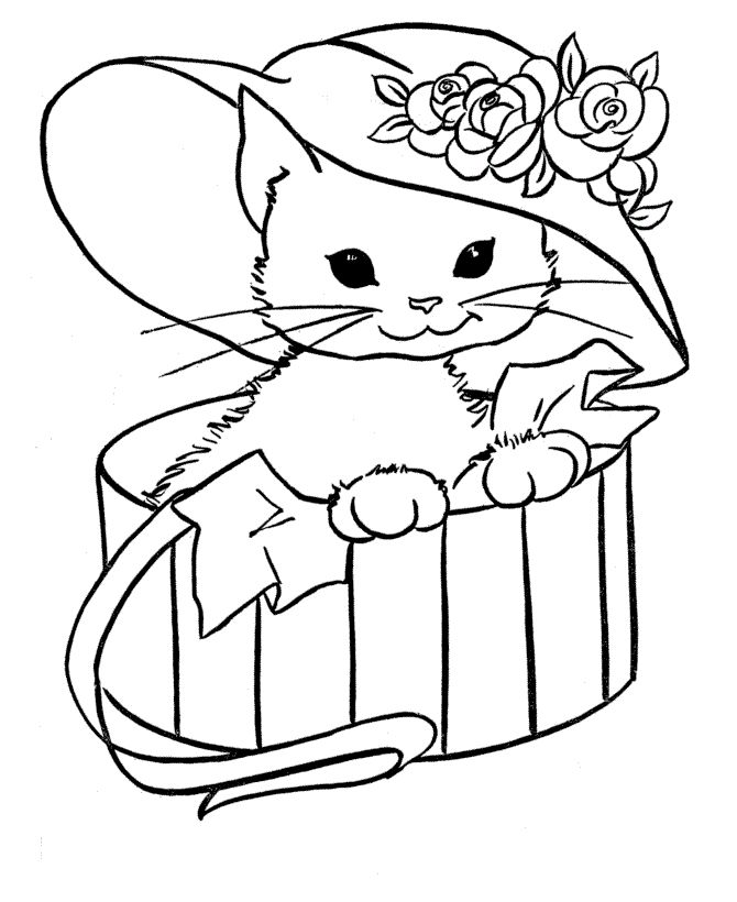 cat with hat in a box animal coloring pages - Printable Animal Colouring Pages