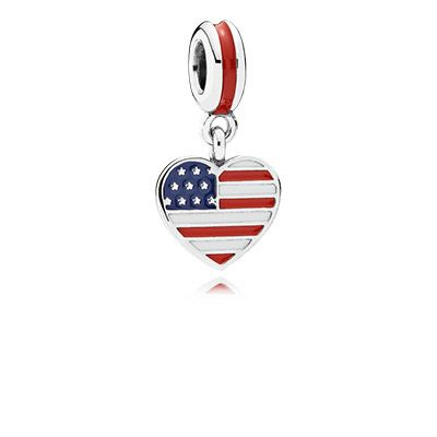 The new US heart flag charm in sterling silver with hand-applied blue, red and white enamel is the perfect way to show your love for the United States. #PANDORA #PANDORAcharm