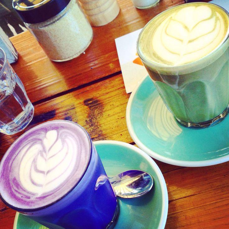 The Glass Den (Coburg): Taro and Matcha Latte [7.5/10]