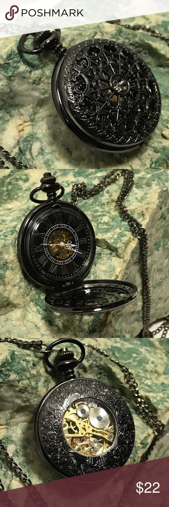 "Pocket Watch Necklace ⏱ Beautiful black caged cover over black face with Roman numerals. Lacey face opens with the push of the button on top. Measures 1.75"" round. Really go back in time as no batteries necessary - watch is WIND-UP ! Glass front and back shows inner movements as time ticks away. Necklace chain is a long 32"". NWOT. Fun accessory. #Steampunk ⏱ Accessories Watches"