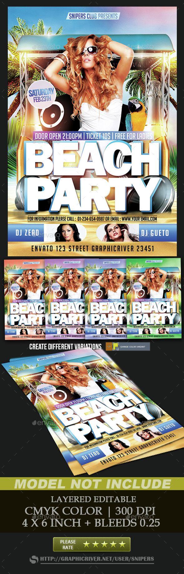 Beach Party Flyer,beach, blue, club, design, dj, event, flyer, fresh, hot, lights, music, palm, party, poster, print, psd, sand, sea, Snipers, sound wave, splash, spring, summer, sun, sunset, sunshine, surf, template, tropical, water