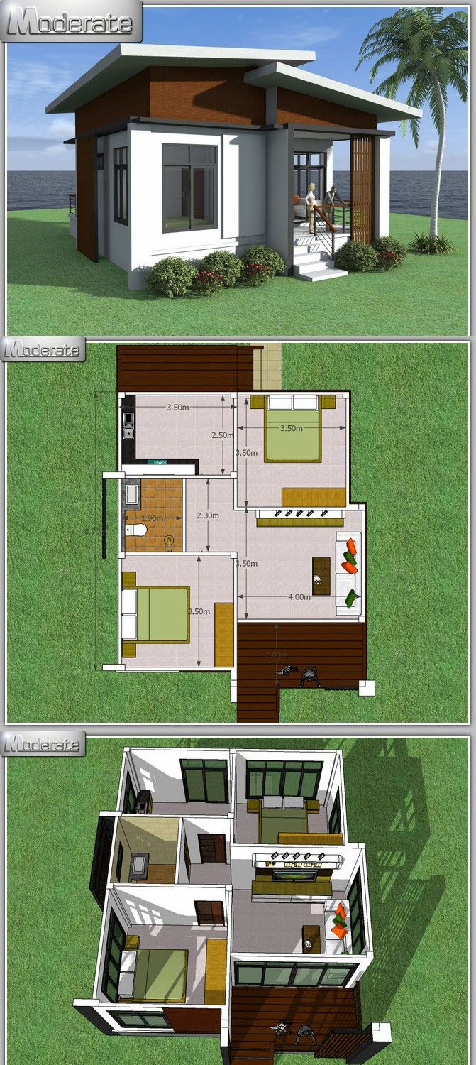 Captivating One Story House With 2 Bedrooms Small Modern House Plans House Blueprints House Layouts