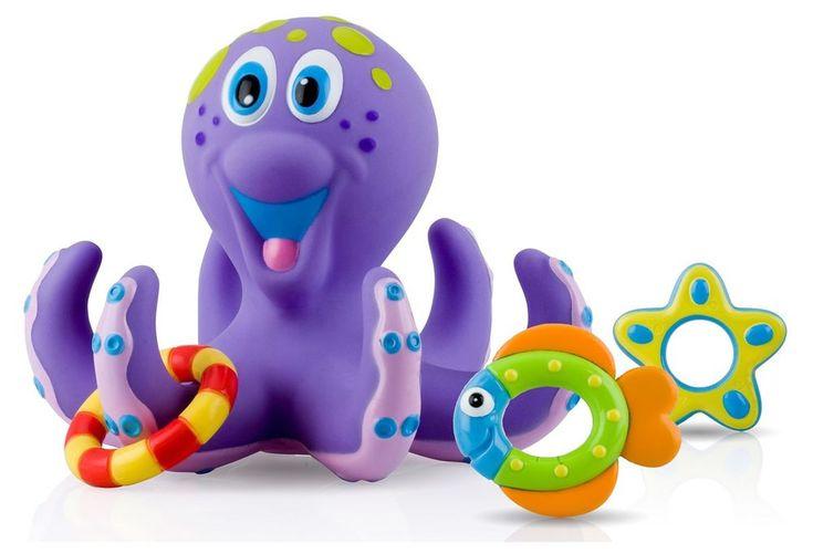 Nuby Octopus Hoopla Bathtime Fun Toys Purple Pool Game Kids Water Activity Baby #Nuby