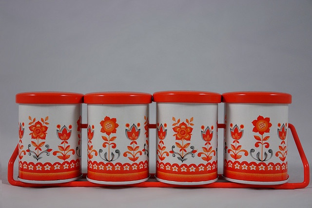 vintage tins (totally counts as tangerine!)