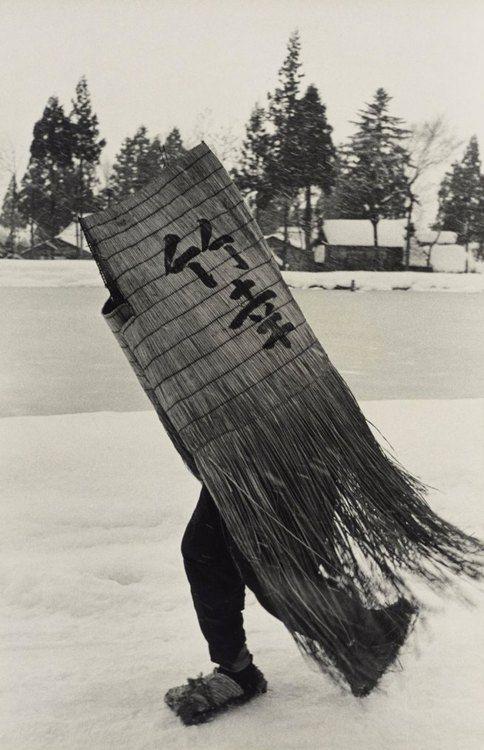 Man in a Traditional Minobashi Raincoat, Niigata Prefecture. 1956. by Hiroshi Hamaya #vintage