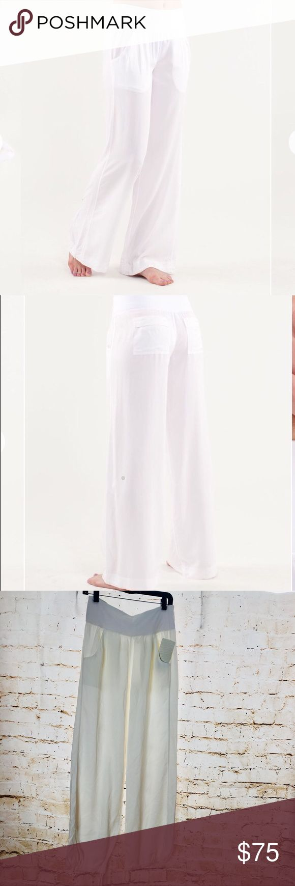 NWT Lululemon Drishti Pant White size 6 NWT Lululemon Drishti Pant White size 6  A drawcord at the hem adjust the length leave the waistband high or fold it over for a lower rise fit designed for greater movement and comfort two front pockets at the hip and two back pockets make it easy for you to store your stuff just say no to chafing with flat seams Tech specs designed for: yoga fabric(s): TENCEL®, luon® properties: moisture wicking, chafe resistant, breathable rise: medium leg fit: wide…