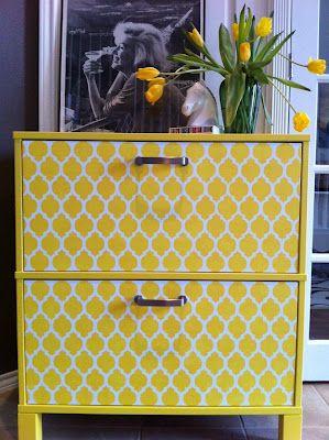 yellow painted ikea file cabinet. make office storage pretty