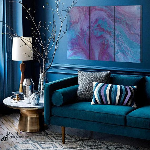 Purple And Blue Abstract Wall Art Plum Turquoise 3 Piece Canvas