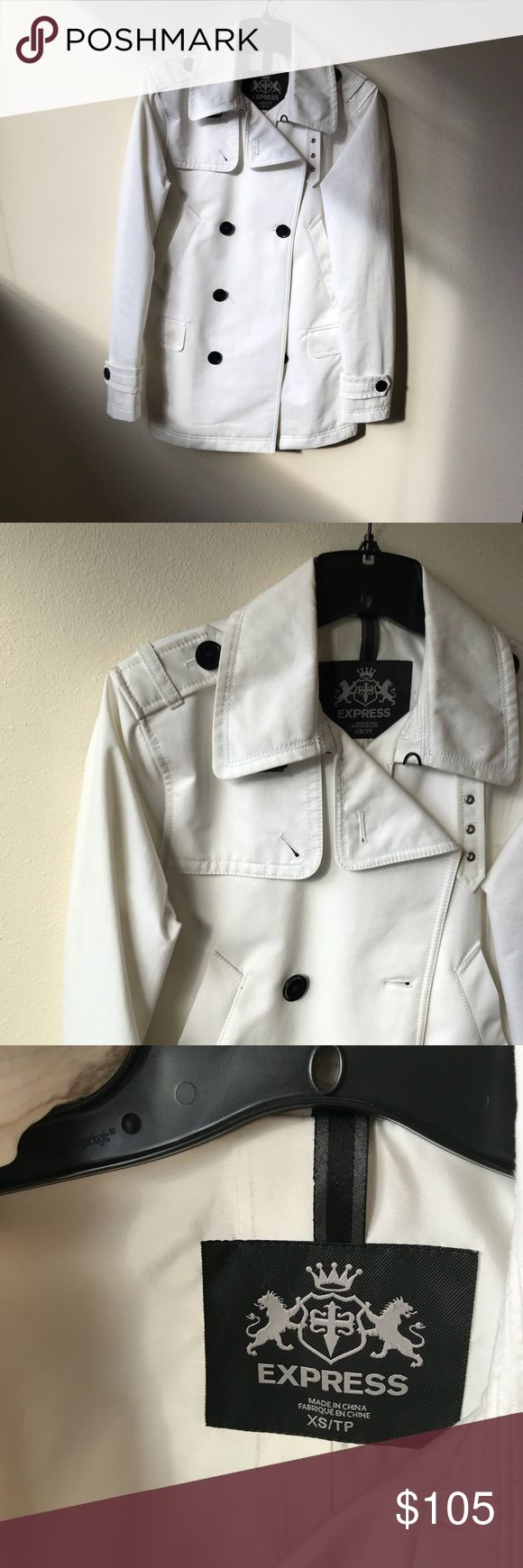White mens trendy trench coat Express white mens trendy trench coat! This is a beautiful piece from express very trendy and perfect for colder weather, looks perfect paired with a scarf. It's only small flaw is wearing stain around the neck which can be easily removed at the dry cleaner and it'll be like new. Other than that there is no visible or unremovable stains anywhere else. The sleeves are also in perfect condition. Ask any questions you may have. The size is xs Express Jackets…