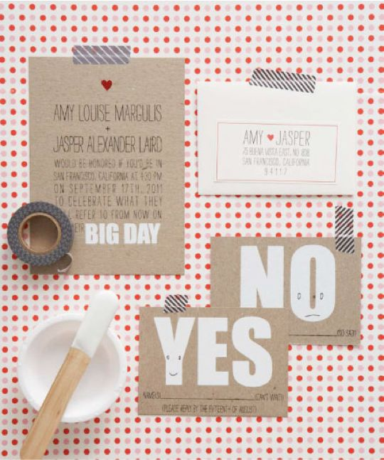 Like the idea of a Yes and No reply card - cute!