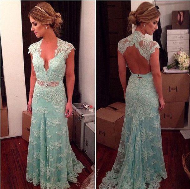 High Quality Prom Dress,Charming Prom Dress,V-Neck Prom Dress Lace evening Dress Backless Prom Dress