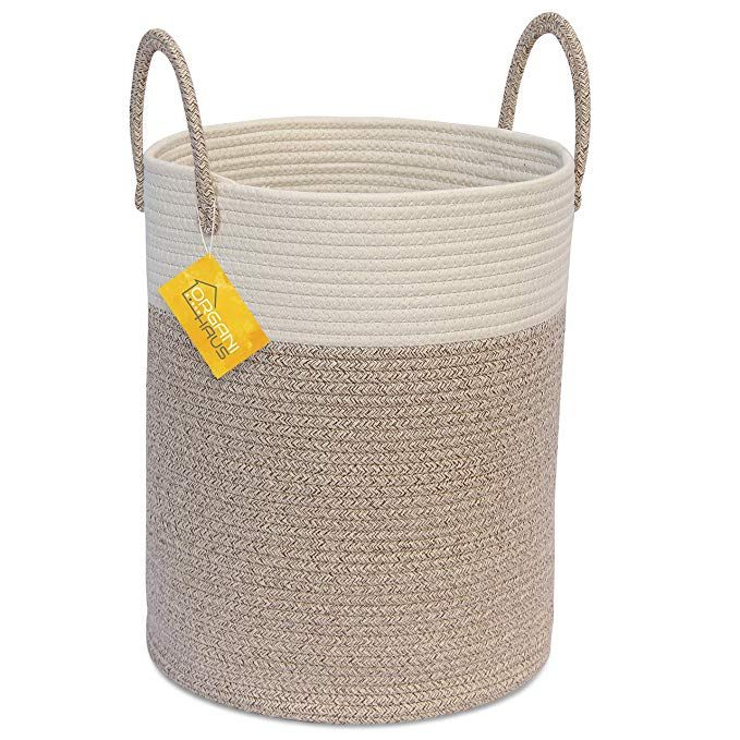 Amazon Com Organihaus Cotton Rope Basket In Brown And Off White Tall Blanket Storage Basket With Long Blanket Storage Basket Storage Baskets Blanket Storage