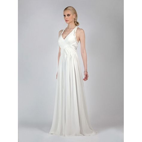 Long wedding dress with tail and beading