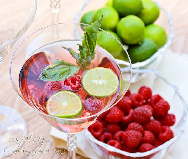 Raspberry Basil Mojitos: Happy Hour, Basil Leaves, Drinks Recipes, Keys Limes, Spicy Perspective, Raspberries Basil, Basil Mojitosyummi, Cocktails, Raspberries Mojito
