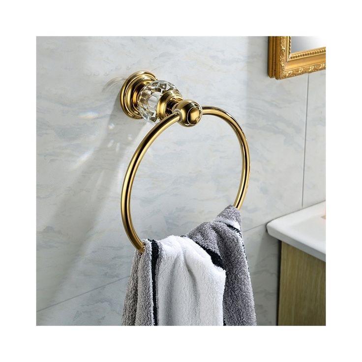 浴室タオルリング 真鍮製&クリスタル タオル掛け タオル収納 ハンガー バス用品 Ti-PVD
