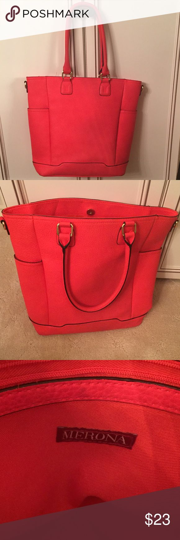 Super cute Target purse Purchased from target. Only a few small marks, overall condition is great. Color is a bright coral (not quite red or pink). Pockets on both sides on the outside of the purse Merona Bags Totes