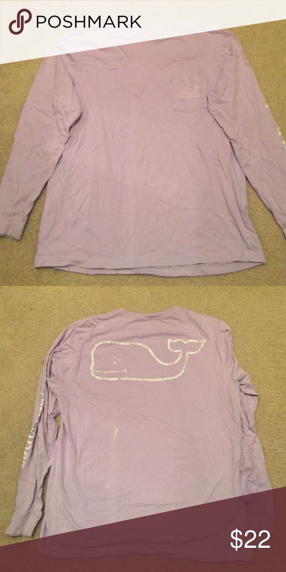 Women's vineyard vines long sleeve shirt Lavender vineyard vines long sleeve cotton shirt. Logo down the arm and whale logo on front and back. Gently used. Small white mark on the back Vineyard Vines Tops Tees - Long Sleeve